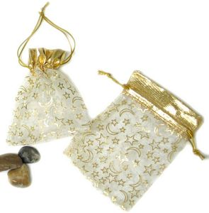 Small Stars and Moons Satin Mesh Organza Drawstring Pouch - 4.5'' H x 3'' W