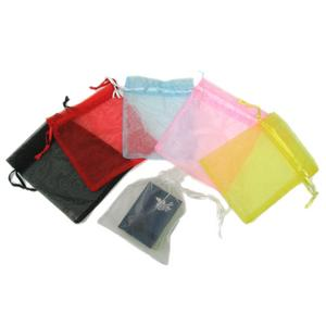 Satin Mesh Organza Pouch with Drawstring Ribbon - 5.51'' H x 4.33'' W