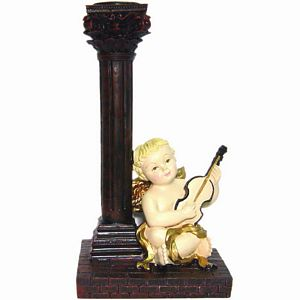 Instrumental Cherub Taper Candle Holder
