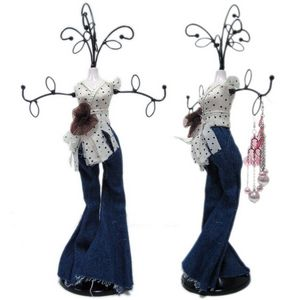 Trendy Denim Miniature Mannequin Jewelry Organizer