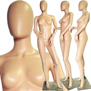 Plastic Ladies Full Size Egghead Mannequin with Removable Head