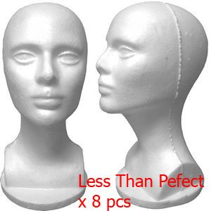 Female Styrofoam Mannequin Head Bust LESS THAN PERFECT  FINAL SALE    Styrofoam Mannequin Head