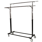 Rolling Double Round Tubing Garment Rack