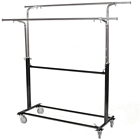 Rolling Double Round Tubing Garment Rack with Extra Bar