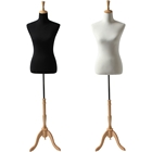 Ladies French Dress Form with Natural Wood Tripod Base