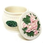 Lovely Pink Flowers Mini Polyresin Jewelry Container with Lid