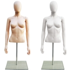 Plastic Half Body Female Upper Torso Countertop Form with Removable Head