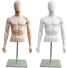 Plastic Half Body Male Upper Torso Countertop Form with Removable Head