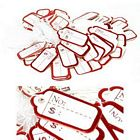 100 pcs Scalloped White String Price Tags - Red
