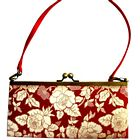 Gold Color Flowers Red Purse