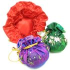 Drawstring Covered Sewing Pin Cushion with Interior Pockets